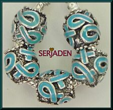 5 Blue Awareness Ribbon Charm Spacer 11 *12 & 5mm Hole Fit European Jewelry S143