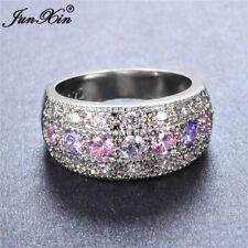 Fashion Women 925 Silver Round Pink Purple White CZ Wedding Band Ring Size 6-10