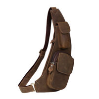 Men Leather Sling Bag Chest Pack Backpack Shoulder Bag Crossbody Bag Satchel