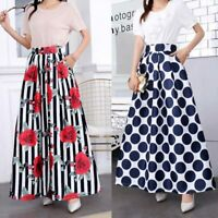 Vintage new pleated women retro high waist maxi dress skater flared long skirt