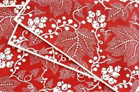 Pottery Barn Placemats Red White Floral Cotton - Set of 6