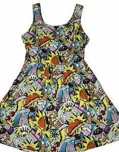 "Modcloth Folter Dress Women's XL ""Good Enough to Eat"" A-Line Skater Pop Art Food"