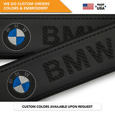 Seat Belt Covers Shoulder Strap Leather Pads Custom Made Fits BMW Black 2PCS