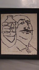 "VINTAGE ORIGINAL BLACK INK ON PAPER DRAWING ""MAN W/ A BOTTLE"" SIGNED BY SEXAUER"