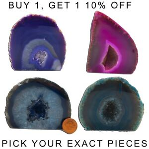 """Agate Geode Piece Slice Purple Blue Green Pink Large Gift Polished Healing  1-3"""""""