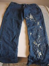 TANGENT COUTURE WEAR JUNIOR'S  DENIM JEANS (NO TAGS ) EMBROIDERED BLUE JEAN PANT