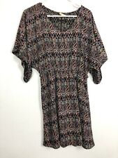 Vintage Bohemian Flowy Printed Hippie Multicolored Festival Dress - Size Medium