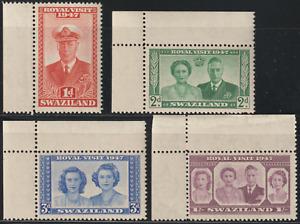 (OL39)SWAZILAND 1947 ROYAL VISIT SET OF 4V MNH