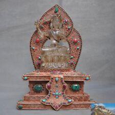 Tibet silver Natural crystal Turquoise Manjusri hold sword Kwan-yin Tara buddha