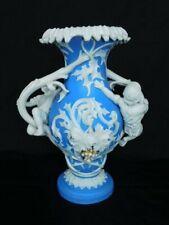 """Lg Antique Bennington Parian Ware Blue & White, Children handles 13"""" Bisque Vase"""