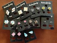 JOB LOT-10 pairs of 10 different shapes coloured diamante stud earring.Silver pl