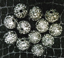 Vtg 12 SOLID METAL SILVER HEAVY HAND MADE 9-10mm ORNATE BALL BEADS #021413o