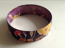 Purple with floral pattern Bangle / Bracelet  Yellow, Pink Width: approx. ¾ inch