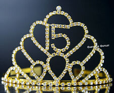 QUINCEANERA FIFTEEN 15 TIARA RHINESTONE CROWN HEADBAND COMB GOLD BIRTHDAY CORONA