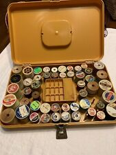 45 Vtg Spools of Sewing Thread with Wilson Case Wooden Spools Coats & Clark's