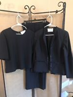 Carolina Herrera Saks Fifth Ave Womens Three Piece Suit Size 14 Black 100% Silk