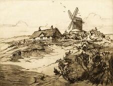 WINDMILL IN LANDSCAPE Signed Etching c1920's