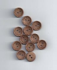 10 Pcs Natural Decorative Wood Buttons For Sewing Scrapbooking Crafts 13mm (80)