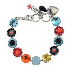Mariana St Barths Tennis Bracelet , Silver Plated Orange/Blue Crystal 4084 1104