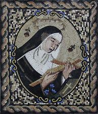 Sweet Blessed Saint Rita Holding The Cross Religious Marble Mosaic FG227