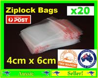 20 Ziplock Clear Poly Bags 4cms X 6cm Reclosable Plastic Zip Lock Baggies Bag