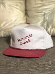 Vintage Interstate Brands Hostess Snapback Hat Cap YoungAn Maroon Tan Adjustable