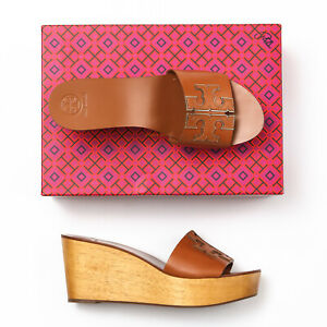 Tory Burch Ines Tan/Gold 80mm Wedge Slide - Size 9.5 M
