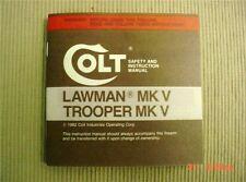 Colt Lawman Mkv &/or Trooper Mk V 1982 Manual