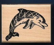 DOLPHIN JUMPING E93 Sea Life Scene card gift tag STAMPENDOUS! 1993 RUBBER STAMP
