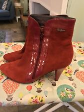 Ladies Pepe Jeans Red Suede Blogger Ankle Boots size 6