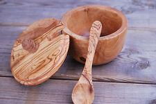 Zuckerdose Salzdose Zuckertopf Dose Topf aus Olivenholz mit Löffel Schaufel Holz