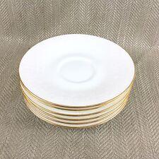 6 Royal Albert Daybreak Saucers Plates Bone Vintage White Gold Trim Embossed Vtg