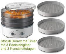 Stöckli Dörrex Dörrautomat Timer mit 3 Edelstahl Gitter und 3 Kunststoff Gitter