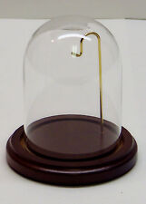 "3"" x 4"" Glass Display Dome With 4"" Walnut Wood Base Pocket Watch Collectible NEW"