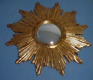 Awesome Vintage Mid Century Modern French Gold Sunburst Starburst Convec Mirror