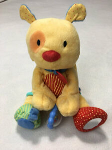 Child Of Mine Yellow Plush Vibrating Pull Collar Puppy Dog Rattle Crinkle Toy