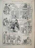Original Old Antique Print 1889 Japanese School Sketches Girls Boys Master 19th