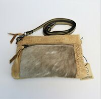Hair on Hide Genuine Leather Purse Tooling Floral Leather Western Crossbody Bag