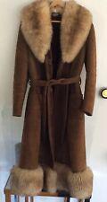 VINTAGE JACKET 70's Leather Coat Shearling Faux Fur Trim GLAM Hippy BoHo XS-S