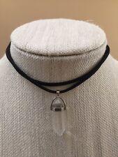 NWT Natural Clear Quartz Healing Stone Choker Statement Necklace