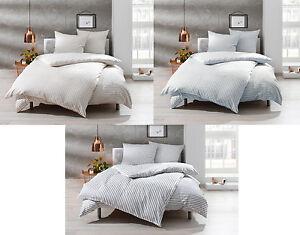 Mako Satin Bettwäsche grau weiß gestreift / blau / beige 100% Baumwolle