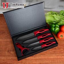 "3"" 4"" 5"" 6"" Ceramic Knife Set Black Blade Zirconia Kitchen Knives + Peeler Red"