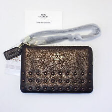 Coach Pebbled Bronze Leather Corner Zip Wristlet w/Lacquer Rivets 64252 NWT