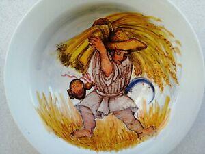 Ceramica artistica Pavon Andrea grande piatto smaltato MIETITURA dipinto 35 cm