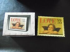 """Usps 55 cent Love Cherubs Stamp Music Box 1997 Plays """"Unchained Melody"""" Nib"""