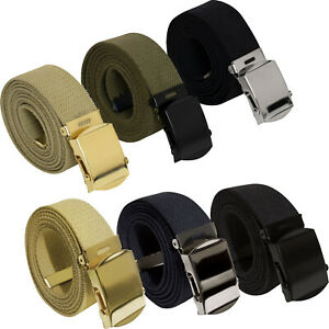 "3 Pack - 100% Cotton Military Web Belts 54"" Long Belts"