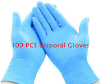 100X Nitrile Disposable Latex Gloves Powder Free Non-Sterile extured Blue Gloves