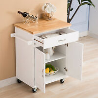 White Kitchen Island Cart Trolley Wood Rolling Storage Cabinet Utility Prep Top