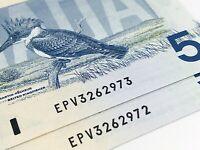 1986 2 Consecutive Canada Five 5 Dollars EPV Prefix Uncirculated Banknote I777