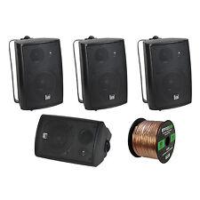 4x New Pyle 3.5'' 200 Watt 3-Way Marine Speaker (Black), Enrock 16G 50 Ft Wire